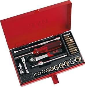 """SAM Outillage 73-RA26 Coffret de douilles/accessoires 1/4"""" 26 Outils de 5,5 à 14 mm"""