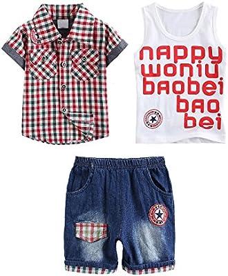 Conjunto de Tres Piezas de Bebé Niño de Verano 1pc Chaleco + 1pc Camisa de Manga Corto cuadrícula + 1pc Pantalones vaquero corto de guapo