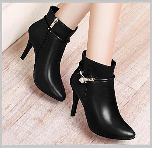 KHSKX-Nero Da 7 Cm Con Il Vello Ladies Boot La Versione Coreana Della Femmina Stivali Scarpe High-Heeled Bella E Calda Stivali Scarpe E 38 37
