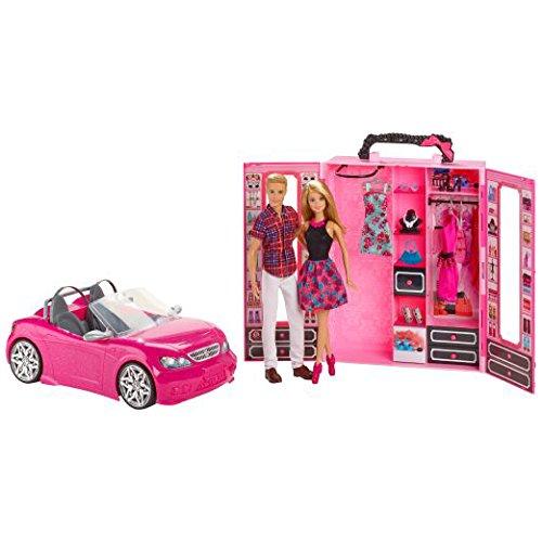 Bambola Mattel con Ken, auto e armadio CNC16