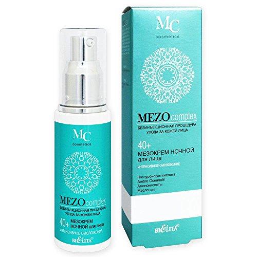 Belita-Vitex MEZOcomplex Anti-Aging Nachtcreme 40+, 50ml, mit Hyaluronsäure, AmbreOceane®-Komplex, Aminosäuren (Taurin, Glycin, Arginin), Shea-Öl, Haselnussöl, Arnikaöl