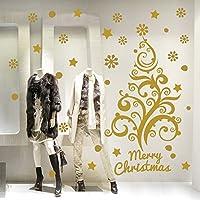 NT0375 Adesivi Murali - Albero floreale - Vetrofanie natalizie - 120x78 cm - Oro - Decorazioni vetrine per Natale, stickers, adesivi