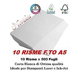 10 Risme CARTA A5 80gr 500 Fogli Carta Bianca Fotocopie Stampante 14,8x21cm RICETTE – 5000 FOGLI