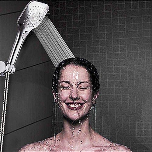 Panasole Duschkopf Handbrause 3 verschiedenen Strahlarten Duschkopf Handbrausen Bad Hand Dusche mit, Brause für Durchlauferhitzer und Niederdruck geeignet, Chrom