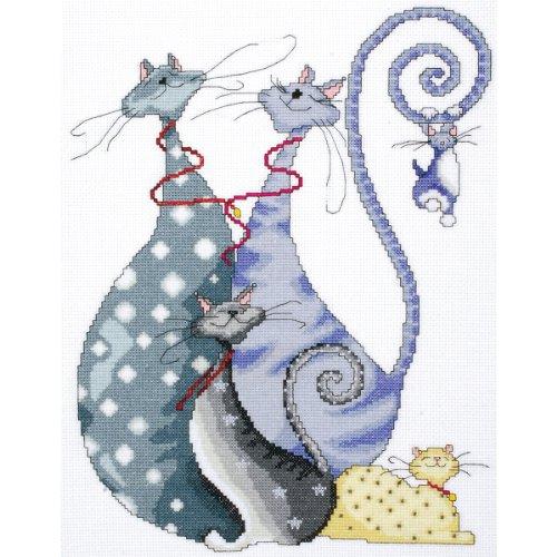 Design Works - Patrón para cuadro de punto de cruz, diseño de gatos,