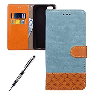 iPhone SE Custodia, iPhone 5 Custodia Portafoglio, iPhone 5S Cover Pelle, JAWSEU Lusso Denim Pelle Patchwork Flip Cover Custodia per iPhone 5 5S SE Cover Copertura con Morbida Gel Silicone Case e Porta carte di credito Chiusura Magnetica Con Supporto [Shock-Absorption] Portafoglio Denim Custodia Wallet Pouch Case Protectiva Bumper Custodia Pelle Custodia Cover per Apple iPhone 5/5S/SE