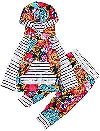JYC Conjuntos para niñas,Ropa para Chicas,Recién Nacido Infantil Bebé Chicos Chicas Raya Flor Impresión Tops+Pantalones Trajes Conjuntos