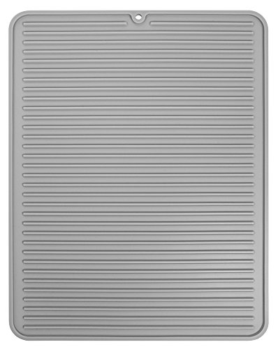 InterDesign Lineo Tapete escurridor, alfombrilla escurreplatos grande de silicona para secar cubiertos y vajilla, gris