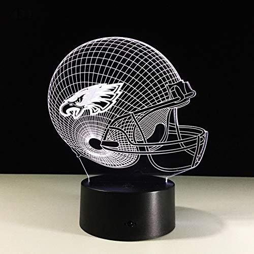 SJSF L Casque De Casquette De Football des Aigles De Philadelphie Mené par 3D A Mené Les Meubles Légers De Cadeau pour des Enfants, Fans,7color+Touch