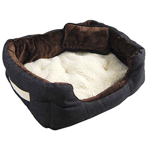 Hundebett Tierbett Braun Weiß Lammfellimitat ca. 52x40x16cm mit Innenkissen + Schmusekissen + Pipi-Schutz-Unterlage