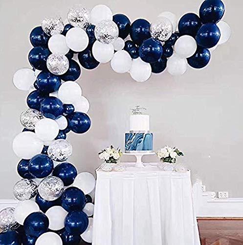 Erosion Blau Weiß Luftballons Bogen Girlande Kit Royal Baby Shower Ballons Marineblau Silber Konfetti Ballon Brautdusche Hochzeit Geburtstag Partydekorationen Navy Party Hintergrund