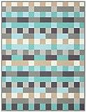 Biederlack Wohn- und Kuscheldecke, 60 % Baumwolle, Samtband-Einfassung, 150 x 200 cm, Grau/Türkis, Exquisite Cotton Logical, 646170