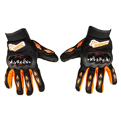 Autofy SSPEC Universal Full Fingers Leather Riding Gloves/Hand Gloves (Black, Orange/L)
