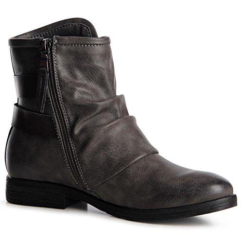 topschuhe24 888 Damen Biker Boots Stiefeletten Booties Grau