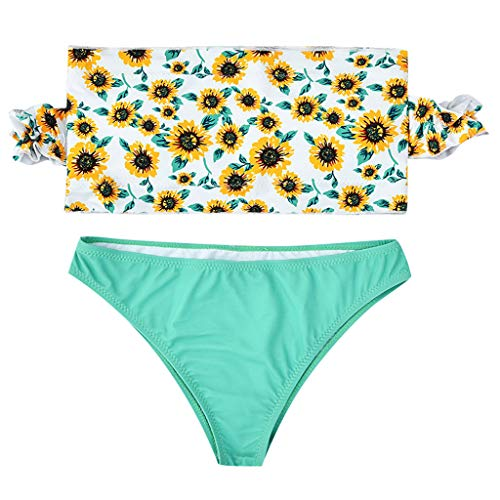 VBWER Damen Badeanzug Blumendruck Hals Hängen Bikini Sets Zweiteilige Bademode mit Hoher Taille Strandkleidung Strandmode Neckholder Bikini