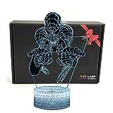 Led Superhero 3d Illusion d'optique Smart 7couleurs Veilleuse Lampe de table avec...