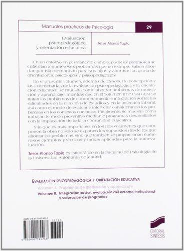 Evaluación psicopedagógica y orientación educativa: Problemas de motivación y aprendizaje: Vol.1 (Psicologia (sintesis))