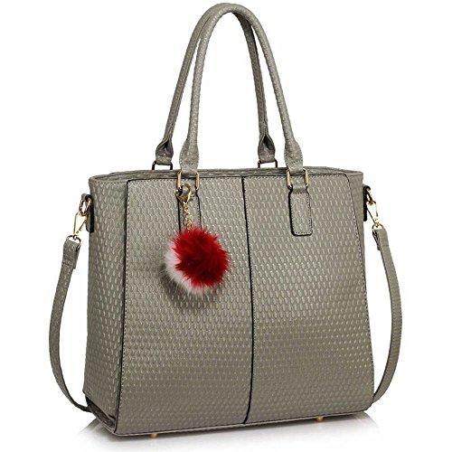 Handtaschen für Frauen-Tragetasche (Nude) Designertaschen Schultergurt Kunstleder stilvollen Damen-Pelz-Tasche B - Grau