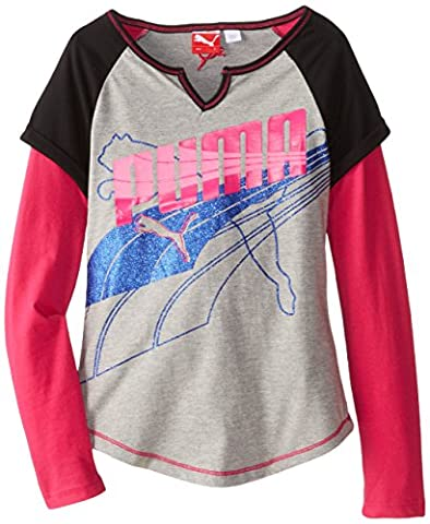 Puma - T-Shirt à manches longues - Fille multicolore Gray and Pink - multicolore - Medium