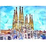 Cuadro sobre lienzo 70 x 50 cm: A turquoise heaven above the Sagrada Familia in Barcelona Catalonia de M. Bleichner - cuadro terminado, cuadro sobre bastidor, lámina terminada sobre lienzo auténtic...