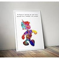 Disney inspirierte Aquarell Poster - Pinocchio - Zitat - Alternative TV / Movie Prints in verschiedenen Größen (Rahmen nicht im Lieferumfang enthalten)