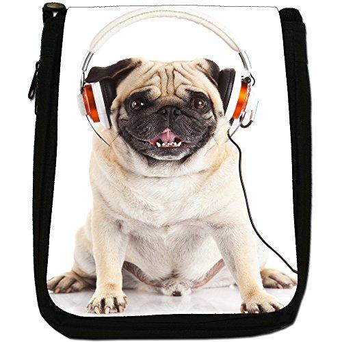 Carlino Pugs Love Little Cani Medium Nero Borsa In Tela, taglia M Music Mad Pug With Headphones