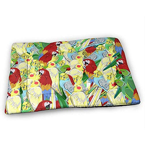 YAGEAD Parrot Pattern Hundebettmatte mit wasserdichtem, rutschfestem Boden, waschbare Hundekistenmatte für schlafende Haustierpolster