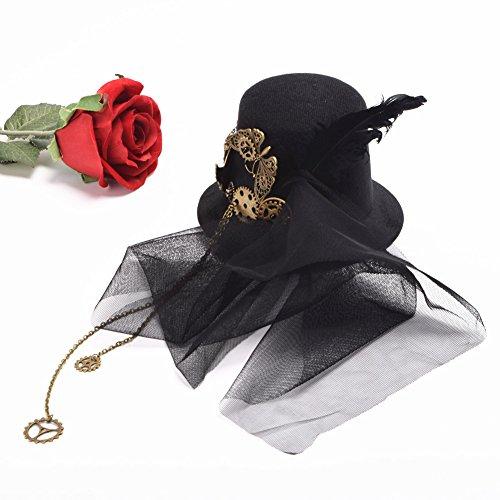 BLESSUME Mini Top Steampunk Hut Hüte Zylinder Accessoire (Viktorianischen Steampunk Kostüm)