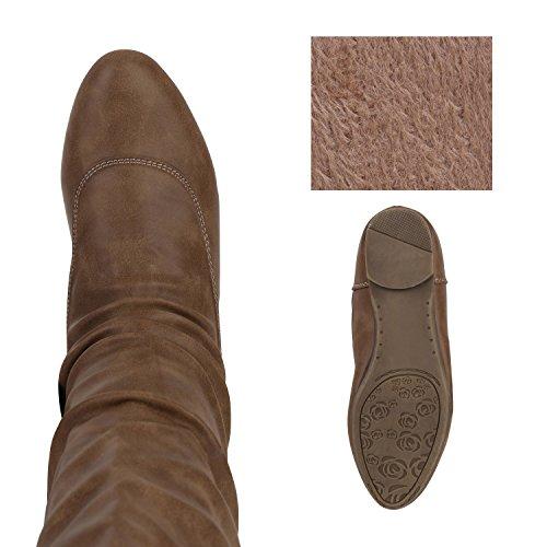 Bequeme Flache Damen Stiefel Hochschaft Stiefeletten Schuhe Gr. 36-41 Khaki