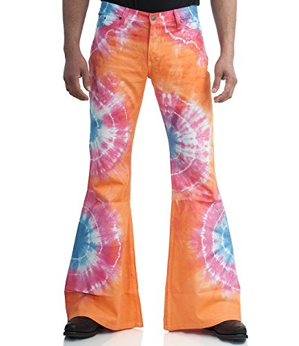 70er Batik Schlaghose Star Rainbow orange Mehrfarbig