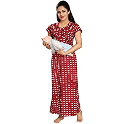 Tucute Women's Dot's Print (Red) Feeding / Maternity / Nursing Nighty Style: 1259