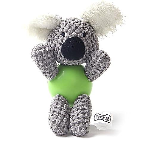 jouet pour chien, NEEDOON Jouet multifonctionnel de crabot grinçant de peluche avec la bille en caoutchouc, formation de Doggy pour le meilleur pour le jeu d'intérieur ou extérieur, cadeau pour votre crabot (koala)