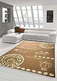 Teppich Modern Flachgewebe Sisal Optik Küchenteppich Küchenläufer Coffee Braun Beige Größe 80x200 cm