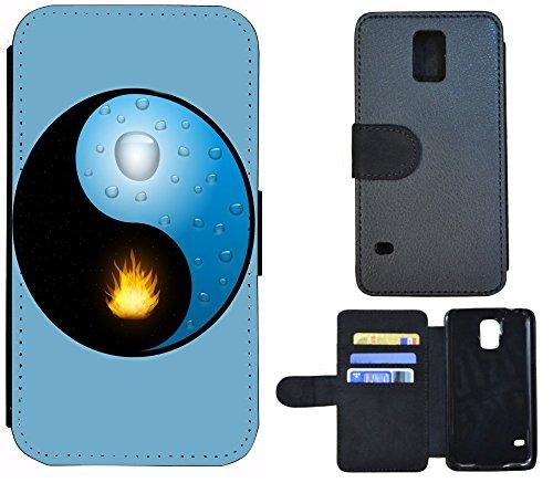 Flip Cover Schutz Hülle Handy Tasche Etui Case für (Apple iPhone 4 / 4s, 1084 Pferd Pferde Braun Weiß) 1088 Ying und Yang Blau Gelb Schwarz