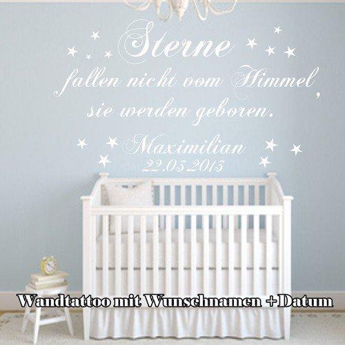 WANDTATTOO Wandschnörkel Kinderzimmer ~ Sterne fallen nicht vom Himmel sie werden geboren~ + Sterne Aufkleber Namen Datum personalisiert Geschenk Baby