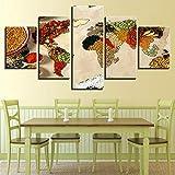 adgkitb canvas HD Cartel Tableau Peinture Sur Toile Grano Especia Cinco Piezas Artista Vivir Música Restaurante Restaurante Marco de Pintura