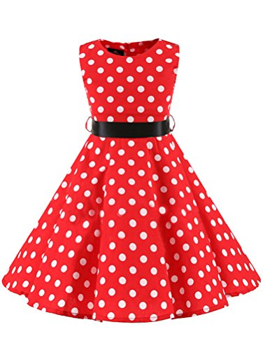 Mallimoda Mädchen Polka-Dots 1950er Vintage Kleid Hepburn Stil Art 2-Rote Körpergröße 120-130