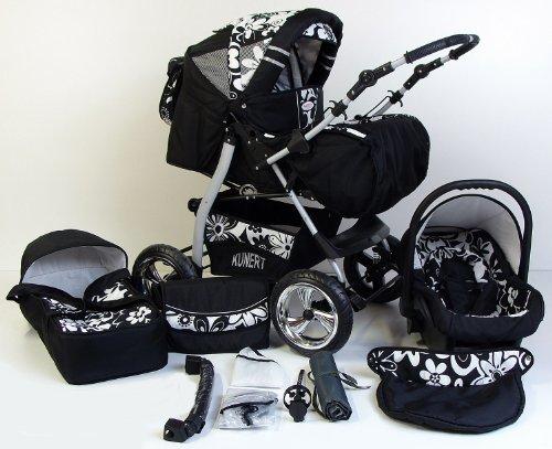3 in 1 Kombikinderwagen Komplettset VIP - inkl. Kinderwagen, Babyschale und Sportwagen Aufsatz - 4. Grau Hartgummi Bereifung - 18. Schwarz-Weiseblumen