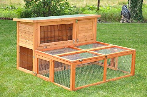 nanook Max – Freigehege zum Anbau für Kaninchenställe, klappbares und verriegelbares Dach, Farbe: natur – Größe S (123 x 80 cm) - 4