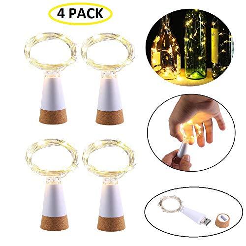laschen-Kork-Lichterkette, USB betrieben, wiederaufladbar, Kupfer-Lichterkette - 150 cm 15 LEDs für Flasche, DIY, Hochzeit, Halloween, Weihnachten, Party-Dekoration bunt ()