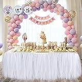 Meng Shop Decorazioni per feste Tutu Tulle Gonna da tavolo adatto per feste feste di matrimonio Princess Party Decor, Baby & Girls Preferiti-Free catena di carta fiori (bianco)
