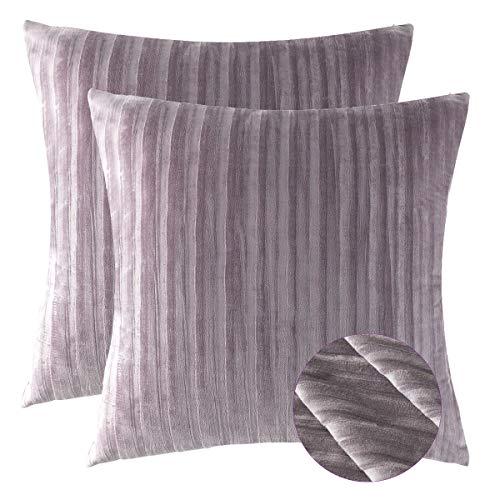 Púrpura Terciopelo Almohadon Cubre Caso, Acento Confortable Raya Jacquard Algodón Funda de...