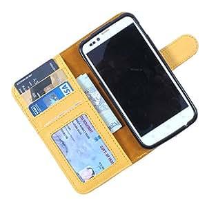 Dooda Genuine Leather Wallet Flip Case For Lava Xolo Q1000s (YELLOW)