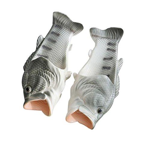 QinMM Kreative Unisex Fisch Dusche Hausschuhe Lustige Strand Schuhe Sandalen (39-40, Silber)