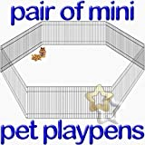 Pair of Mini Pet Playpens for little animals Run Cage Crate 25h x 48w x 6 Panels Small