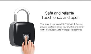 Smart Fingerprint Padlock,Electronic Waterproof Padlock, Stainless Steel Lock, Suitable for House Door, Backpack, Suitcase, Bike, Gym, Office and More (Black)