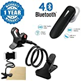 Captcha® Snake Design Adjustable Phone Holder Flexible Stand For Home, Office, Car With 360 Degree Surround Sound K1 Bluetooth Headset With Noise Reduction Compatible With Xiaomi, Lenovo, Apple, Samsung, Sony, Oppo, Gionee, Vivo Smartphones (One Year