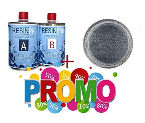 Resin Pro - Kit résine époxy transparente 800 g + un pigment métallique pour bijoux et bricolage (aluminium)