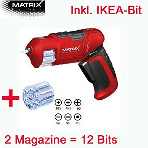 MATRIX 3,6V Lithium Ionen Kompakt Revolver Akkuschrauber - inklusive 12 Bits (mit IKEA-Bit)