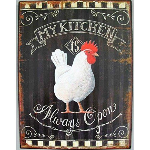 Blechschild Huhn My Kitchen Wandschild Nostalgie Retro Shabby Bistro Küchen Deko Huhn, Küche